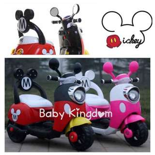 ***In-Stock*** Mickey Mouse Electric Bike Scooter Children/ Kid/ Baby/ Infant/ Toddler (Walker, Stroller, Gift, Birthday, Celebration, Party, Led, Music, Stroller, Toy, Motorcar, Dress, Kitchen, Phone, MP3, Kiddy, Control, Disney, Girls, Boys, Bicycle)