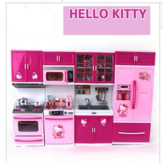 Hello Kitty Modern Kitchen Set Girl Children Playhouse Simulation Tableware Kitchen Play Set Mini Play Set Doll House Toy Kitchen Set