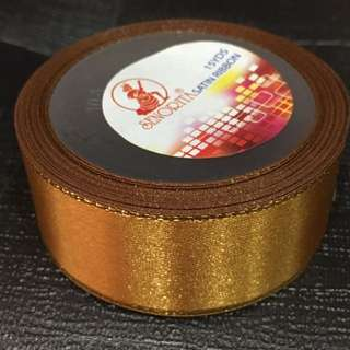 2.5cm Satin Ribbon w Gold Edges - Red & Golden Brown