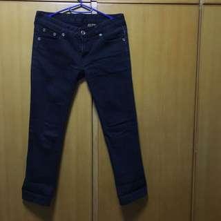 女裝黑色低腰牛仔長褲 low cut black jeans trousers