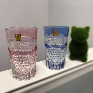 Kagami Crystal Glasses - Pink And Blue