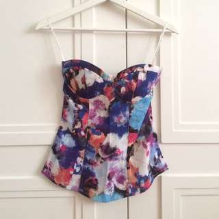 Bustier Floral Tube Top