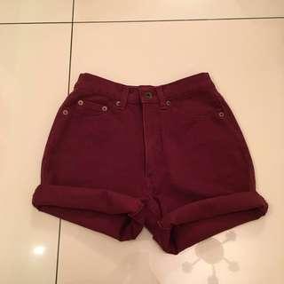 Burgundy high waisted shorts