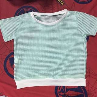 Mint cropped top blouse