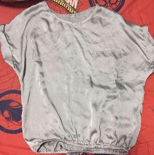 Grey satin blouse