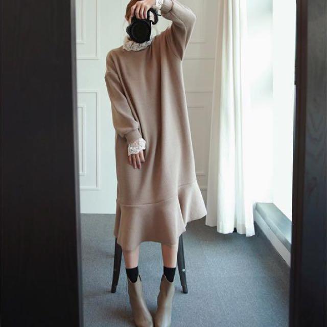 簡約棉質寬鬆蕾絲拼接魚尾連衣裙