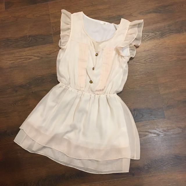 杏色 氣質洋裝