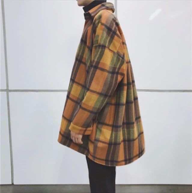 🚀秋裝大格紋長版襯衫🚀 黃/綠 兩色