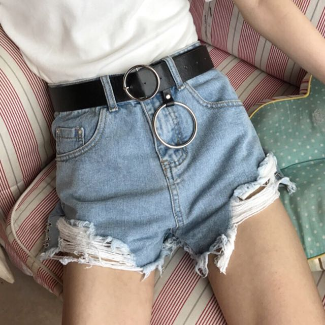 淺藍 刷破 短褲