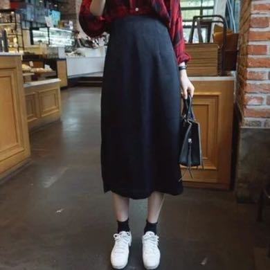 黑色 麂皮 中長裙 鬆緊帶