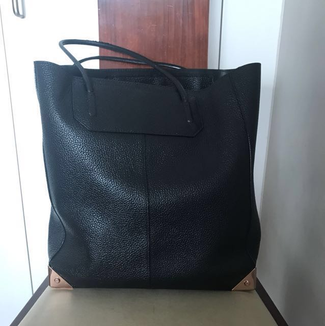 Alexander Wang Prisma Large Tote in Pebbled Black with Rose Gold