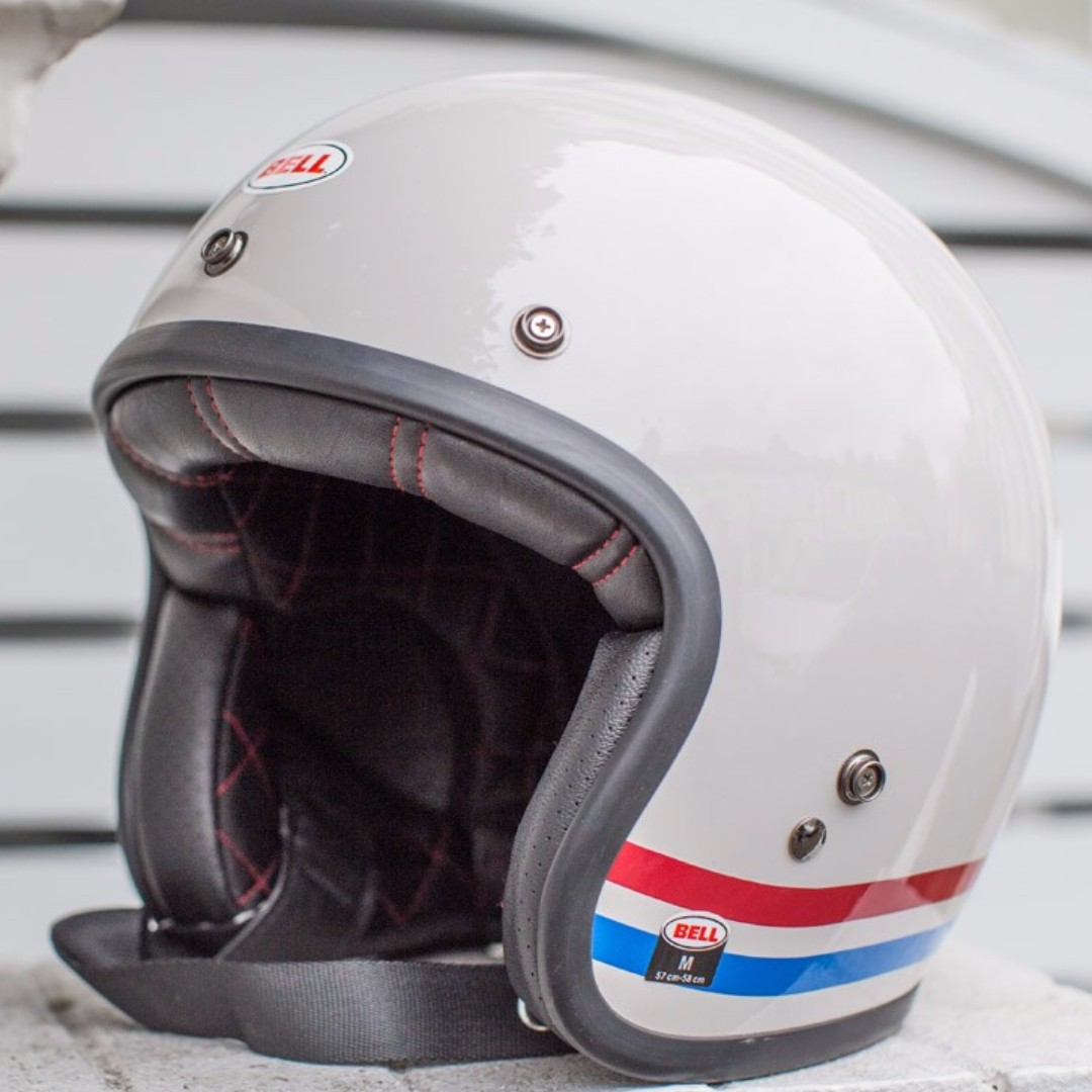 Bell Custom 500 Size X Small Xs Only White Red Blue Motorcycle Motorbike Helmet Cafe Racer Retro Helmet Stripes Stripe Pearl White Blue Red Cafe Racer Vespa Helmet Rare Motorcycles Motorcycle Apparel On