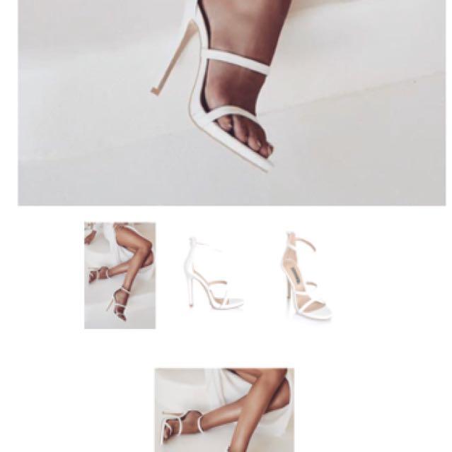 Billini White 3 strap heels