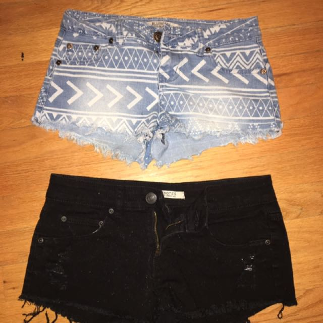Black and Blue/White patterned shorts