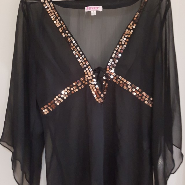 black cover up beach top