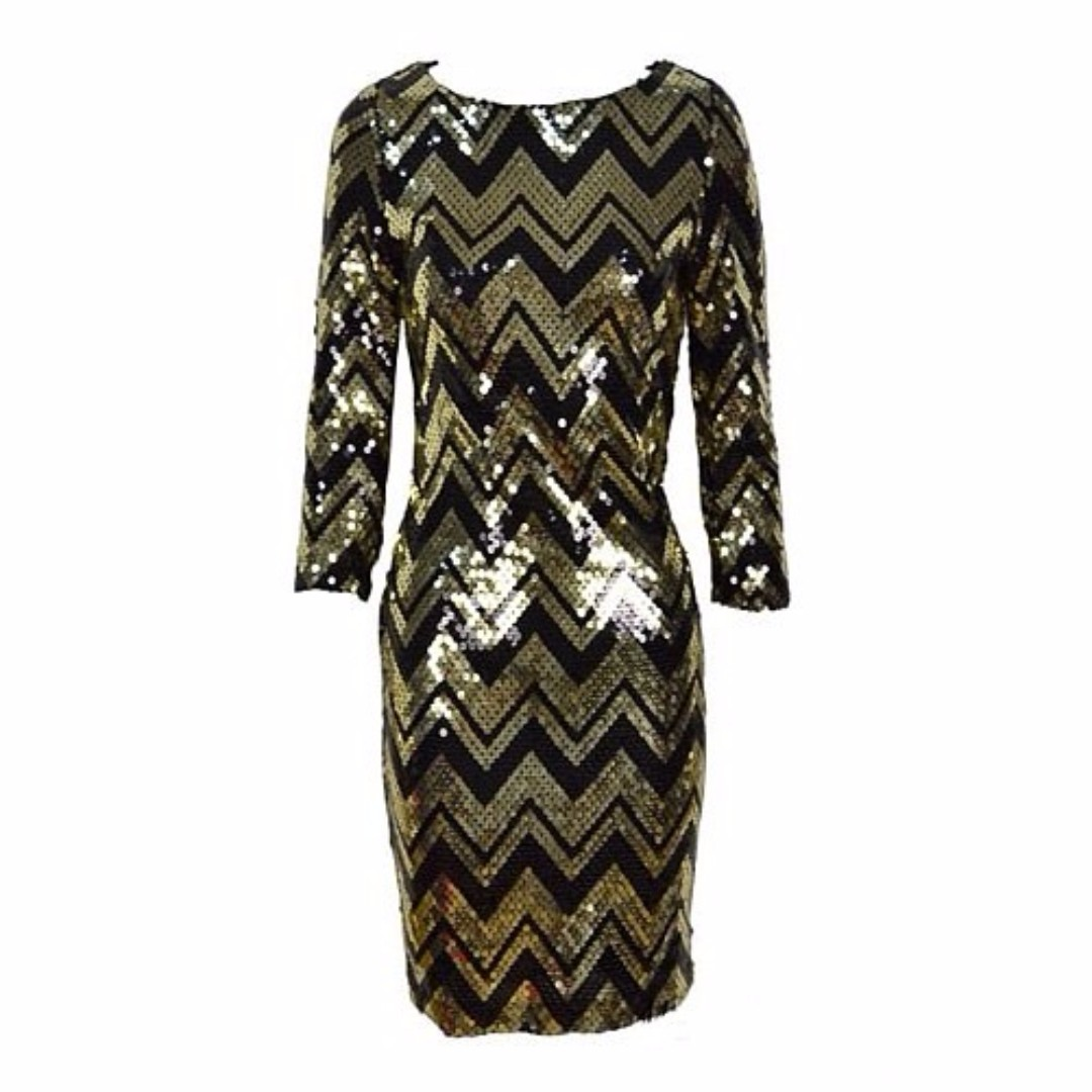 de3214a77366b Black Gold Sequins Party Chevron Cocktail Dress S