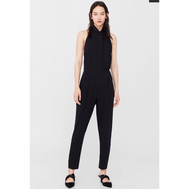 Black halter-neck jumpsuit