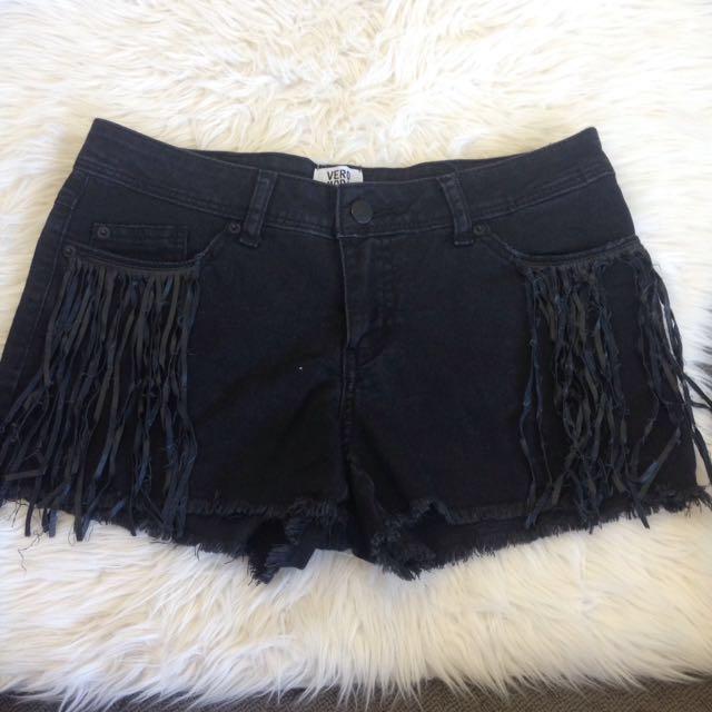 Black Leather Detail Denim Shorts Size 8-10