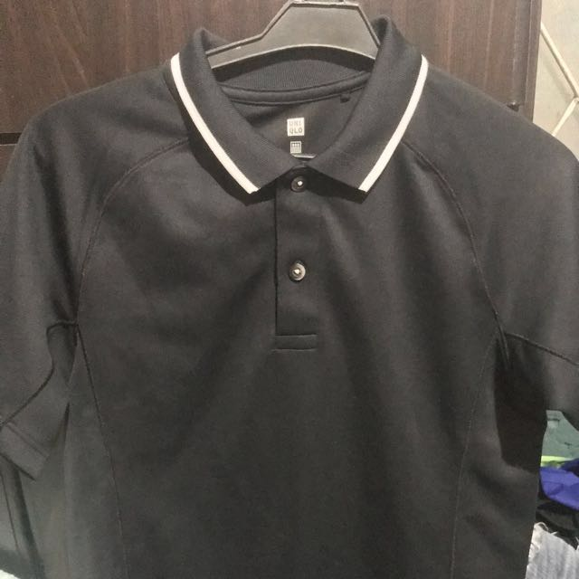 Black Uniqlo Polo Shirt Men S Fashion Clothes Tops On Carousell