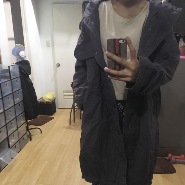 Blue Gray Coat With Hood