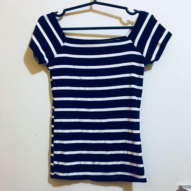 Blue Knit Off Shoulder