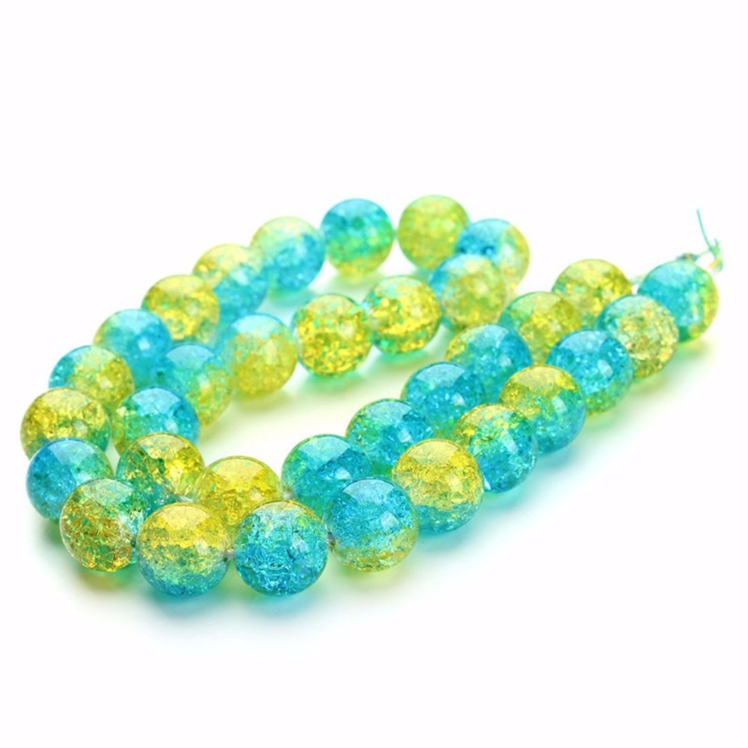 BlueAndYellow Crack Crystal Round Beads