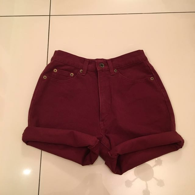 Burgundy high waisted shorts