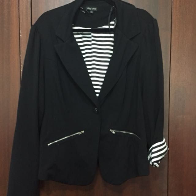 City Chic Striped Lining Blazer - Size L