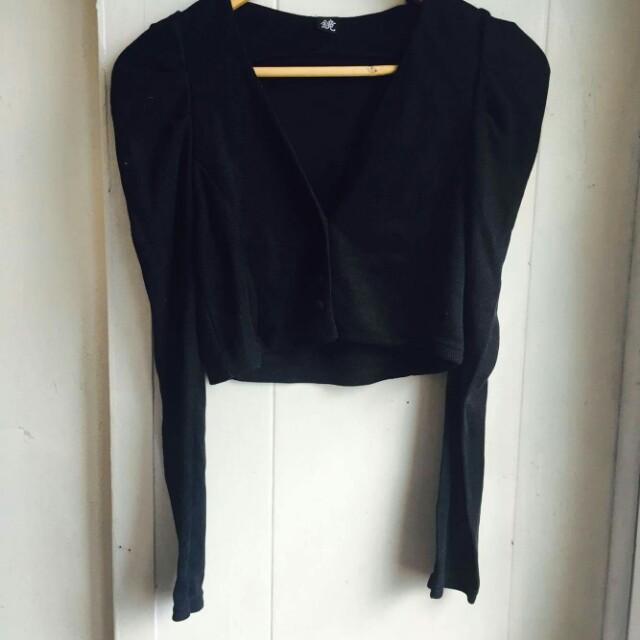 Cropped Black Cardigan