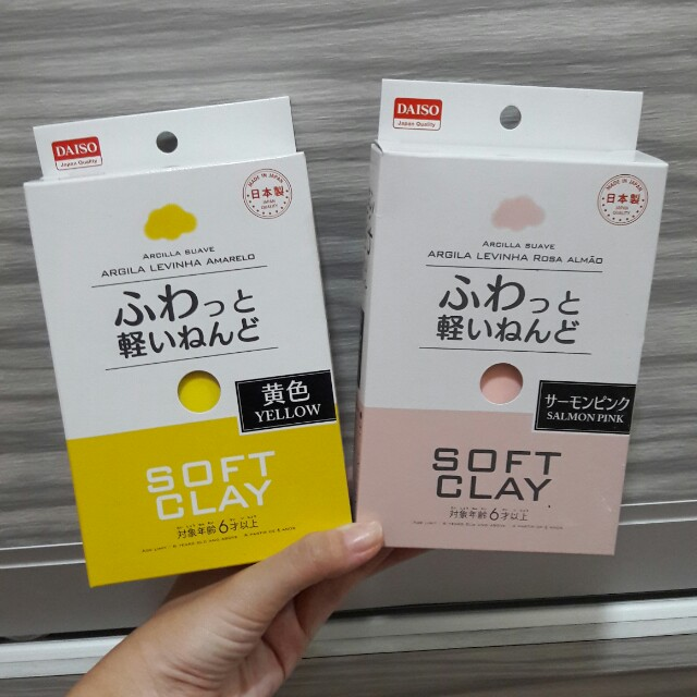 Daiso Soft Clay Yellow Amp Salmon Pink Rm4 50 Per
