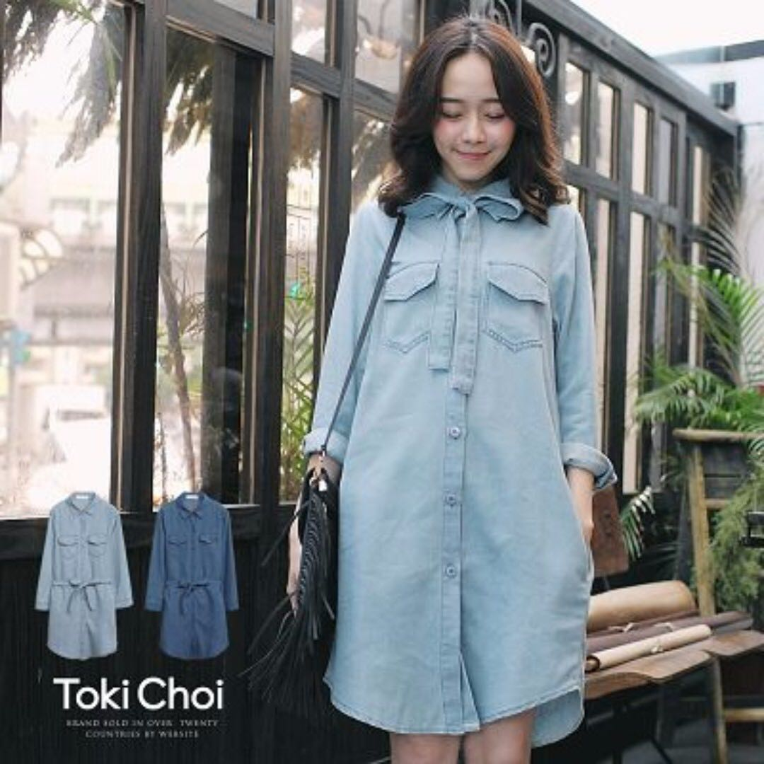 193a61a458 Denim Button Down Shirt Dress (Light blue)