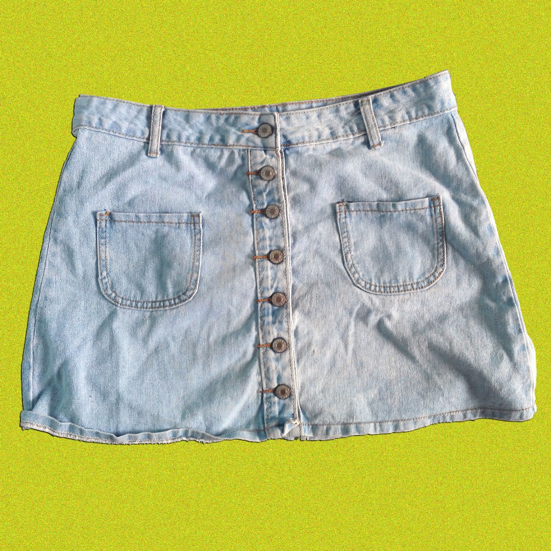 Denim button-down skirt