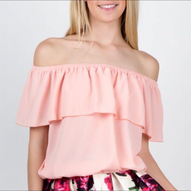 Dusty Pink Off Shoulder Top
