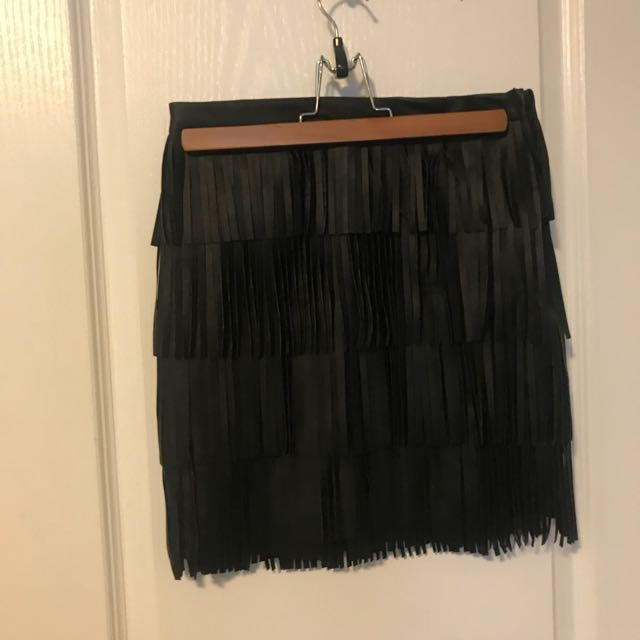 Dynamite Fringe Leather Skirt