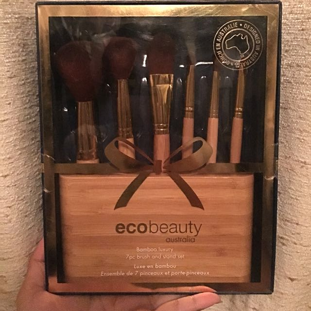 EcoBeauty Bamboo 7Pc Brush & Stand Set