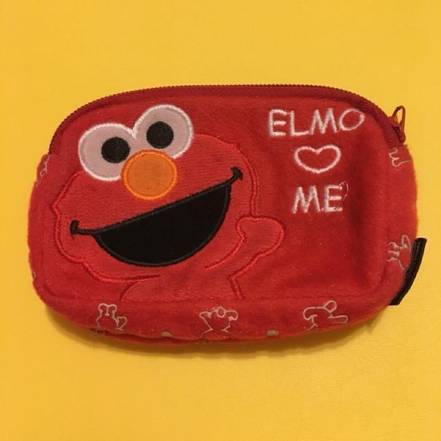 (二手出清)Elmo紅色雙層零錢包 滿版
