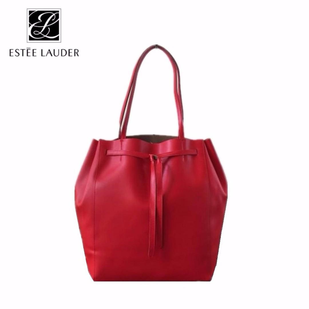 Estée Lauder Red Large Bucket Faux Leather Tote Bag