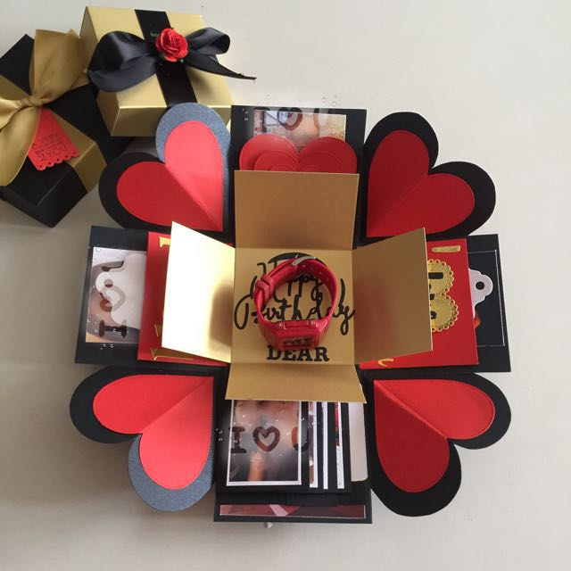 explosion box with big gift box for watch 4 waterfall in black red