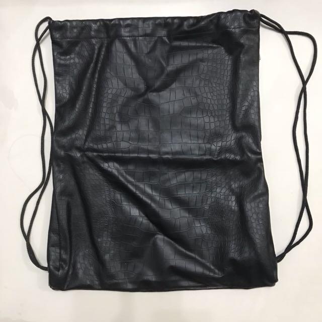 Forever 21 Black Leather Drawstring