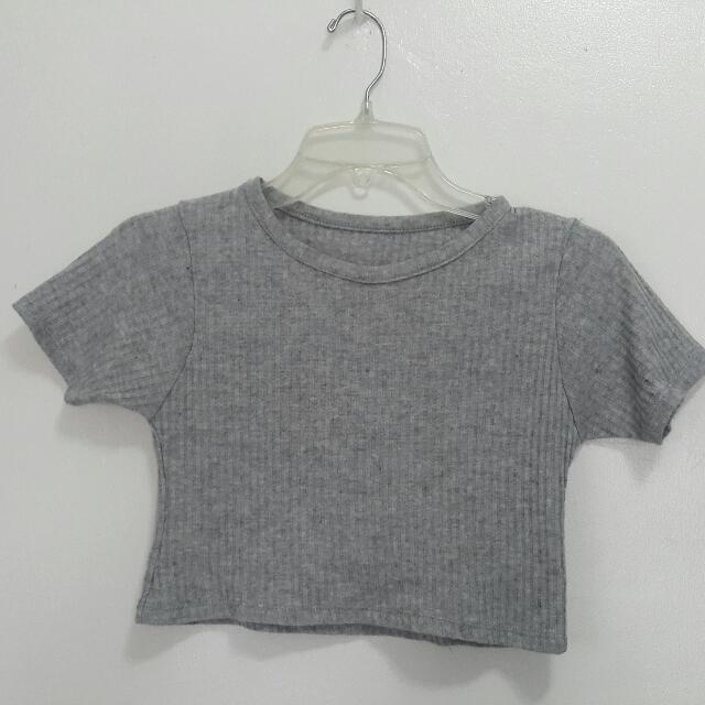 Gray Ribbed Crop Top