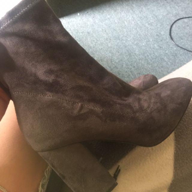Grey sock boots