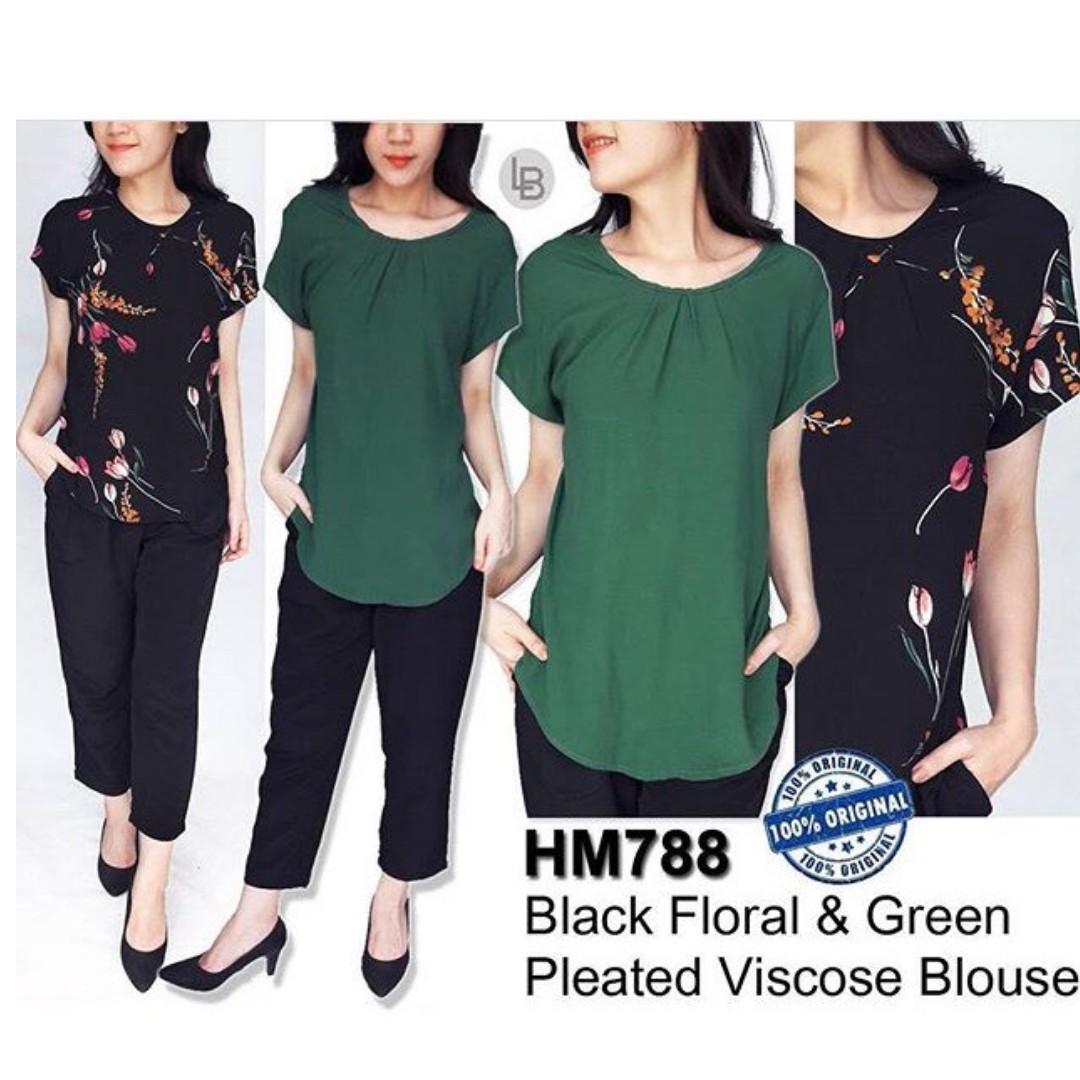 H&M BLACK FLORAL & GREEN BLOUSE