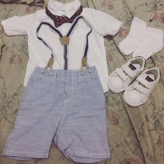 h&m white polo and shorts terno