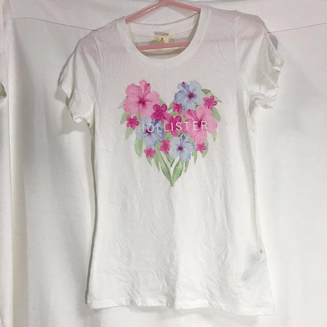 全新😍Hollister愛心花朵白色上衣