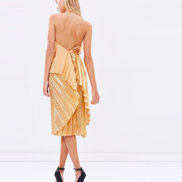 Isla Pleats Please Midi Dress - Gold