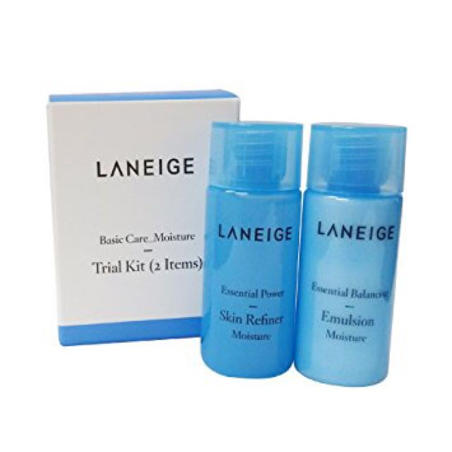 Laneige Basic Care Moisture Trial Kit Kit includes: * Essential Power Emulsion 15ml * Essential Power Skin Refiner 15ml