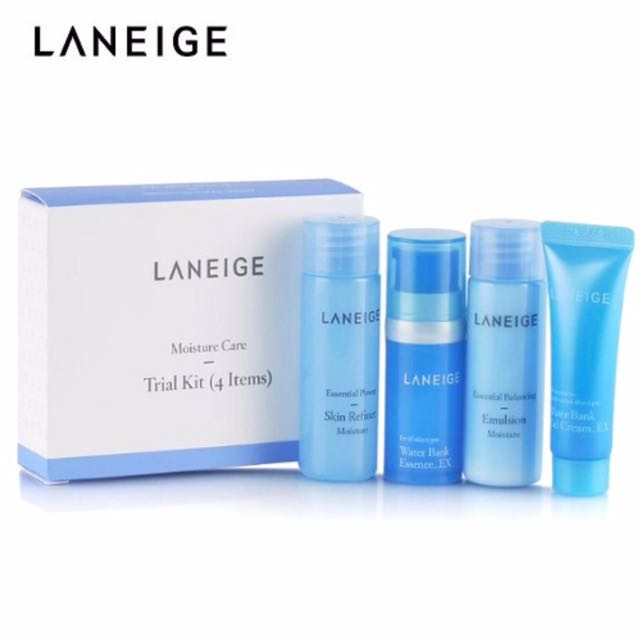 Laneige Moisture Care Trial Kit  Kit includes: * Essential Power Skin Refiner 25ml * Essential Balancing Emulsion 25ml * Water Bank Essence 10ml * Water Bank Gel Cream 10ml
