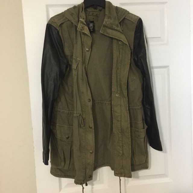 Leather trim army style coat size M