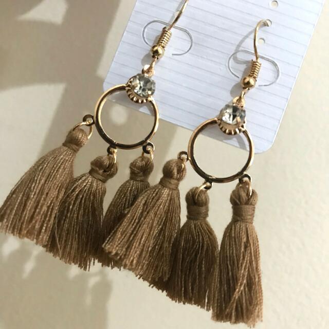 Light Brown Tassel Earrings