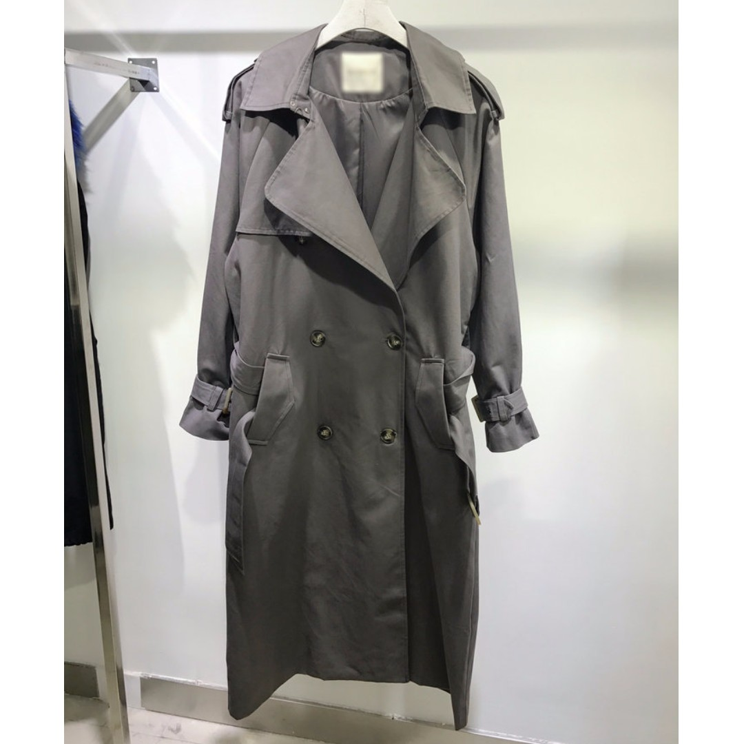 M SELECT 超好看 面料超好!氣場超強韓國東大門訂單灰色經典版型長版風衣 asos H&M 韓國明星同款